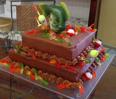 Or This Gone Fishin Cake Designed By The 11 Year Old Birthday Boy Himself Is Chocolate With Buttercream Do You Sense A Flavor Theme